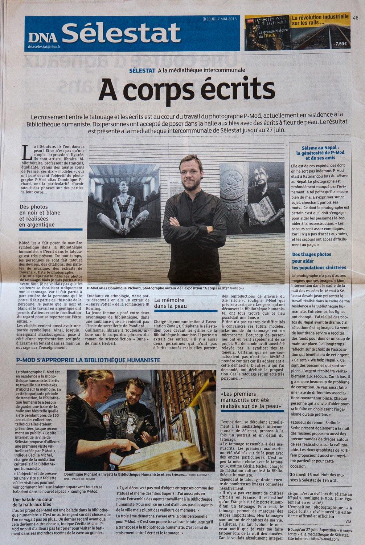 Dernières Nouvelles d'Alsace - A Corps Ecrits - 06 avril 2015