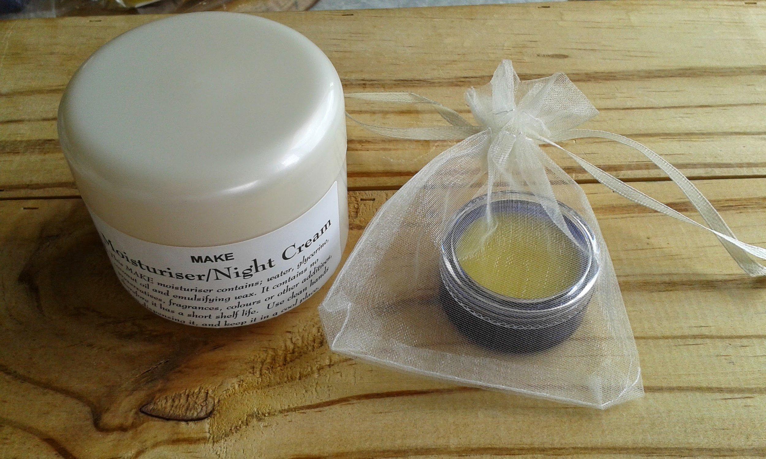 MAKE Moisturiser/Night Cream & MAKE Lip Balm, make great gifts to share with friends &family.
