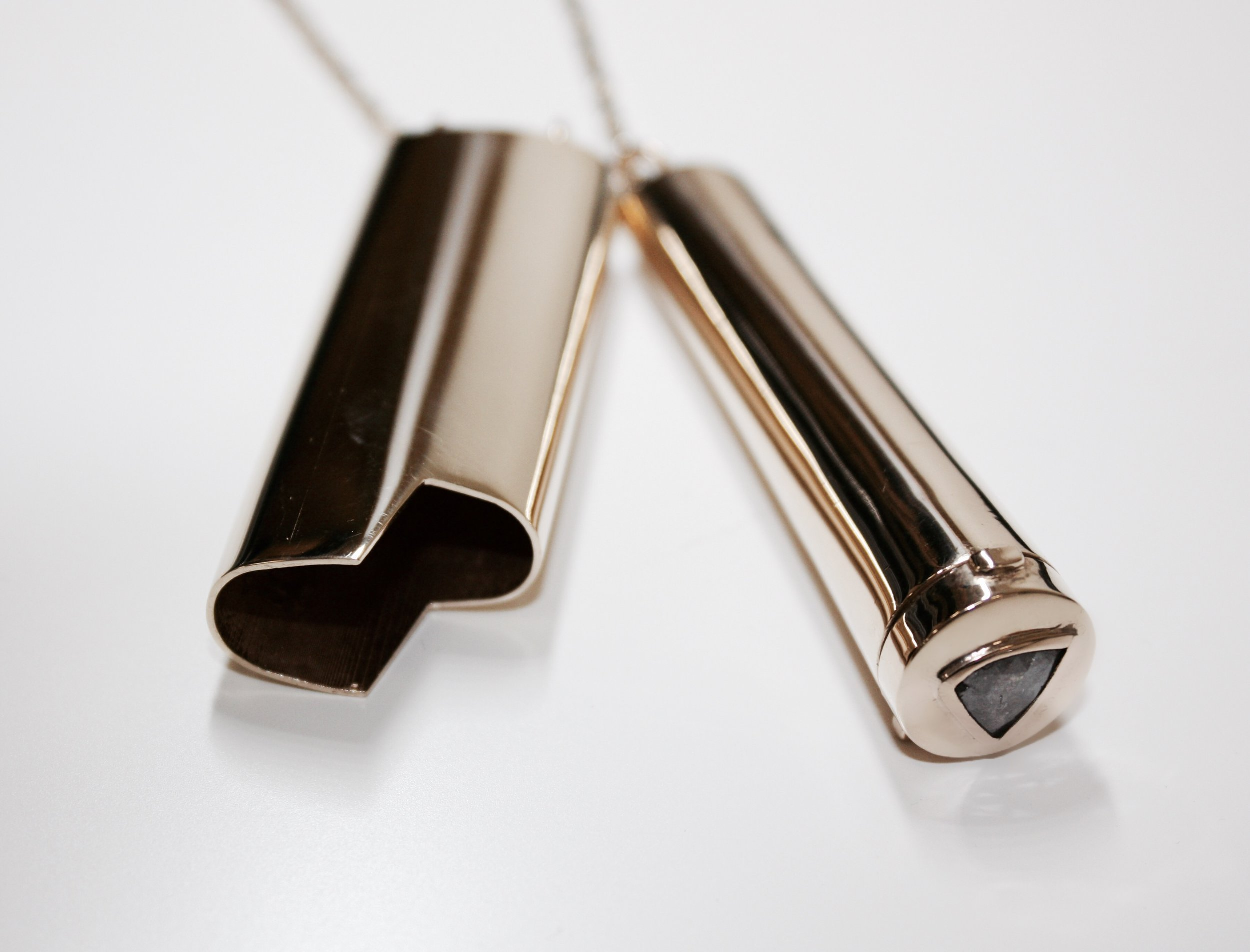 Limited Edition:INHALE LIGHTER NECKLACE - A chain and two friends. Limited edition lighter and joint holder with sliced diamond on a 32 inch chain.