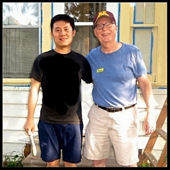 It was C.J.'s first-time painting. He joined our Hearts & Hammer crew in September, helping fix a house for a family in need. He's from southern China and working on a Ph.D. at the U of M. He's pictured with Five Oaker Kevin Johnson.The connection and invitation   was   made when some of our men's ministry leaders helped serve a meal for Chinese students through the ministry to international students that several Five Oakers participate in. The next serve opportunity is in December.