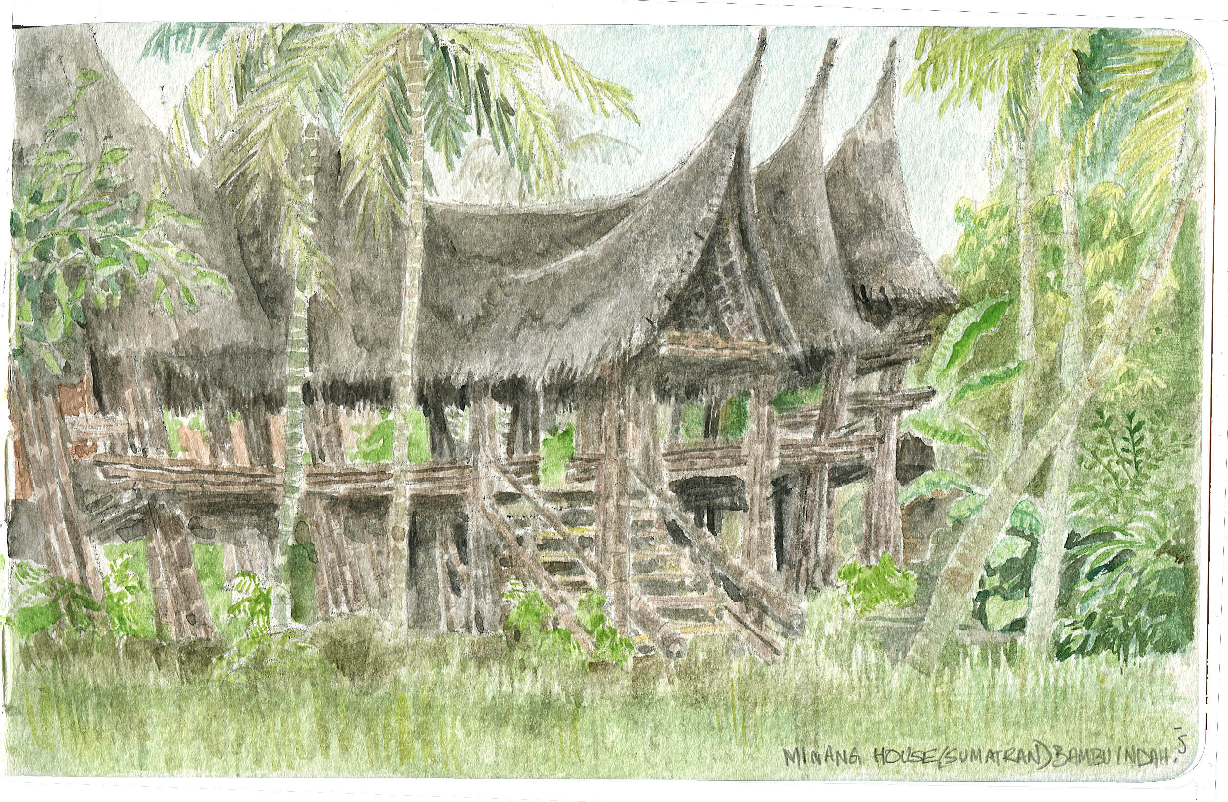 The Minang house, built to match the ones seen in Sumatra. Made out of gorgeous black bamboo.