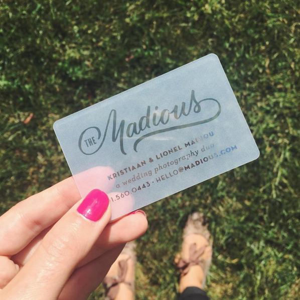 Metallic foil stamped plastic business card