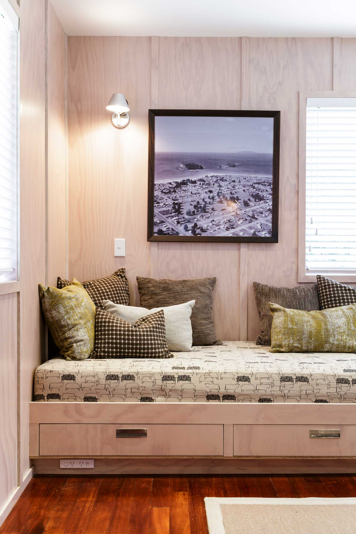plywood built-in bed