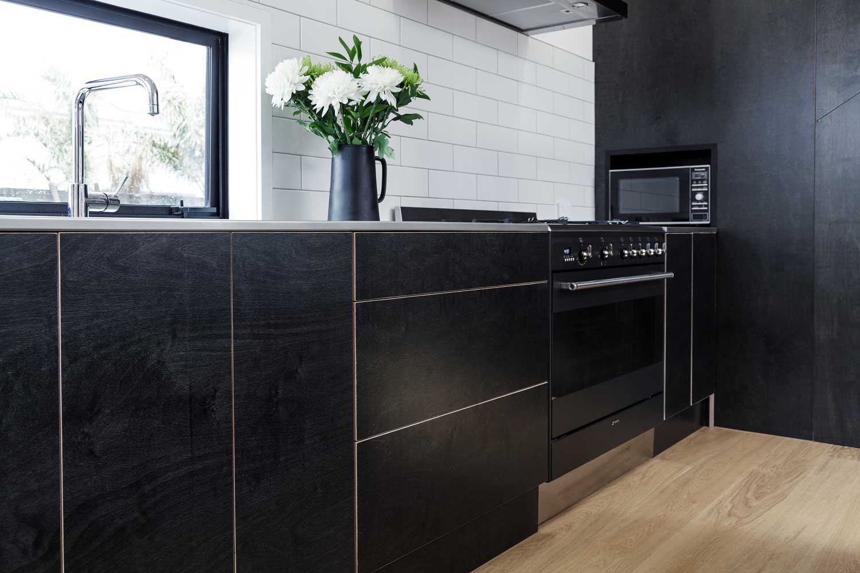 Black plywood kitchen