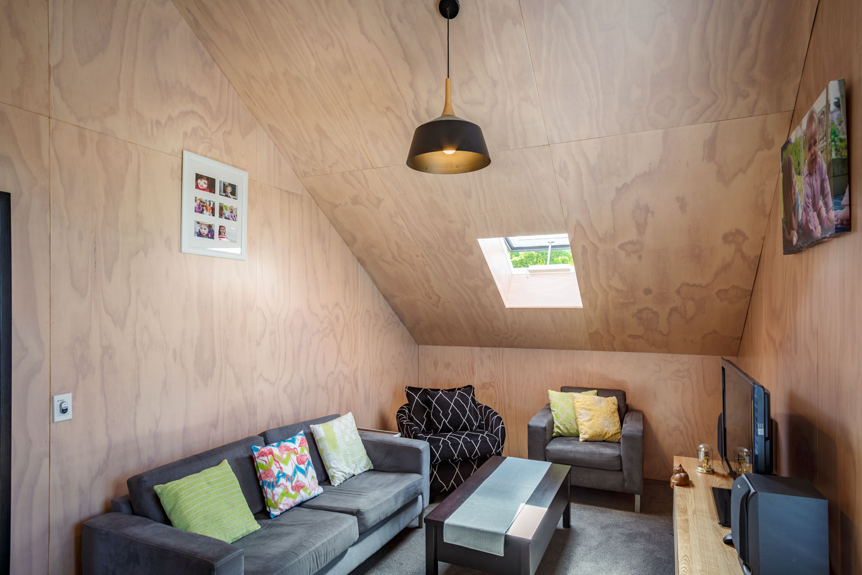 plywood lining loft living room