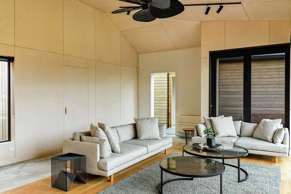 holiday house living room plywood walls