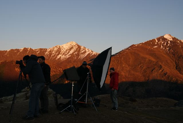 Queenstown lookout over lakes and mountains, filming at sunrise, great crew, full production services, Producer, photographer, clients.