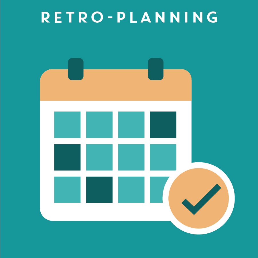 RETRO-PLANNING 項目時間規劃   Retro-planning is a schedule that is built up starting from the last step, or end date, of the project. It usually includes important deadlines, milestones and action items to make sure the project is executed on time, and meets specific goals and criteria.