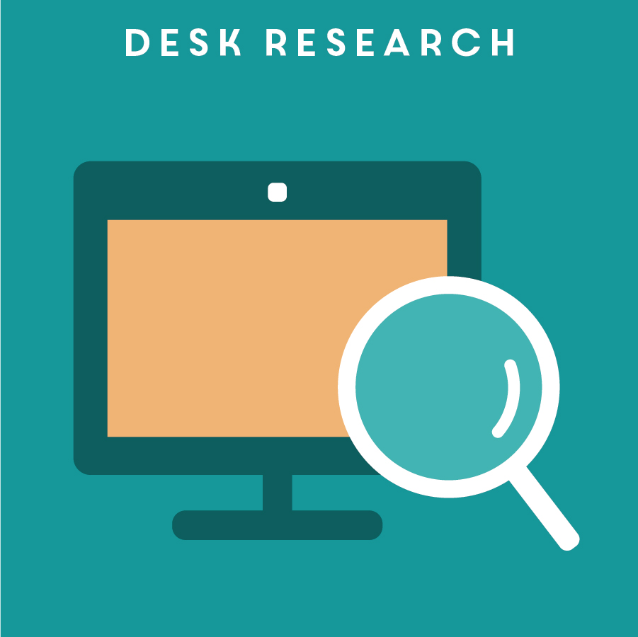 DESK RESEARCH 桌上研究   Desk research allows the team to learn quickly from existing publications, blog posts, social media, news and more. It is a great tool to utilize when the project has a tight timeline, or when triangulation is needed for primary research data.