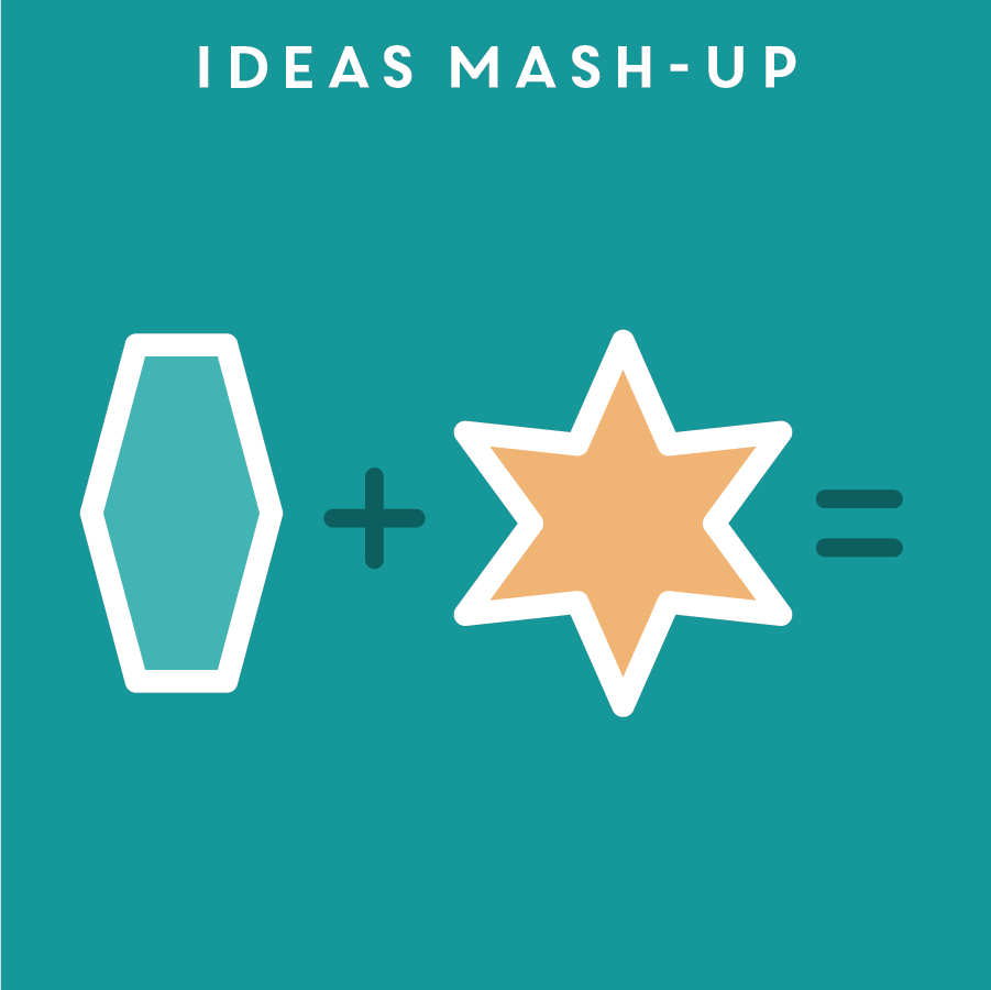 IDEAS MASH-UP 概念混搭   Framing the right topic to brainstorm on is as important as the brainstorming process itself. Ideas mash-up is a great tool to generate a brainstorming topic that forces designers to combine a few unrelated ideas and think outside the box to form new concepts.