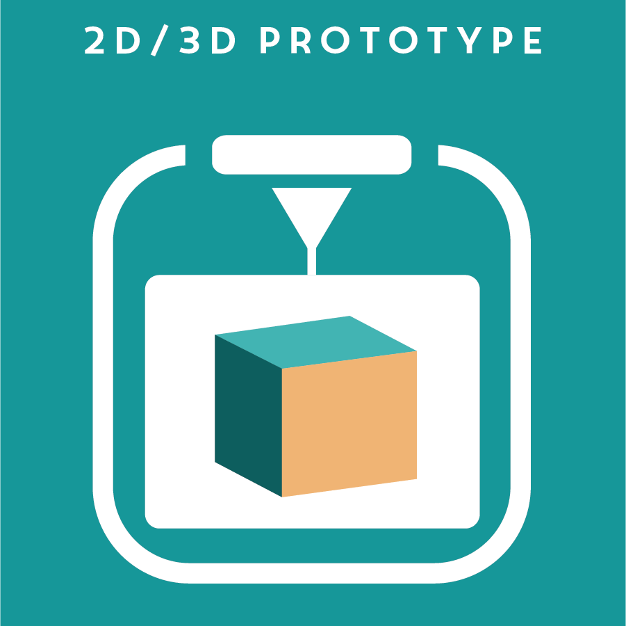 2D/3D PROTOTYPE 平面/立體模型   2D/3D prototype is the most common way to mock-up an idea for a physical product or user interface. These prototypes can be created by hand or digitally, such as laser cutting and 3D printing.  Here is an example of a 2D/3D prototype.