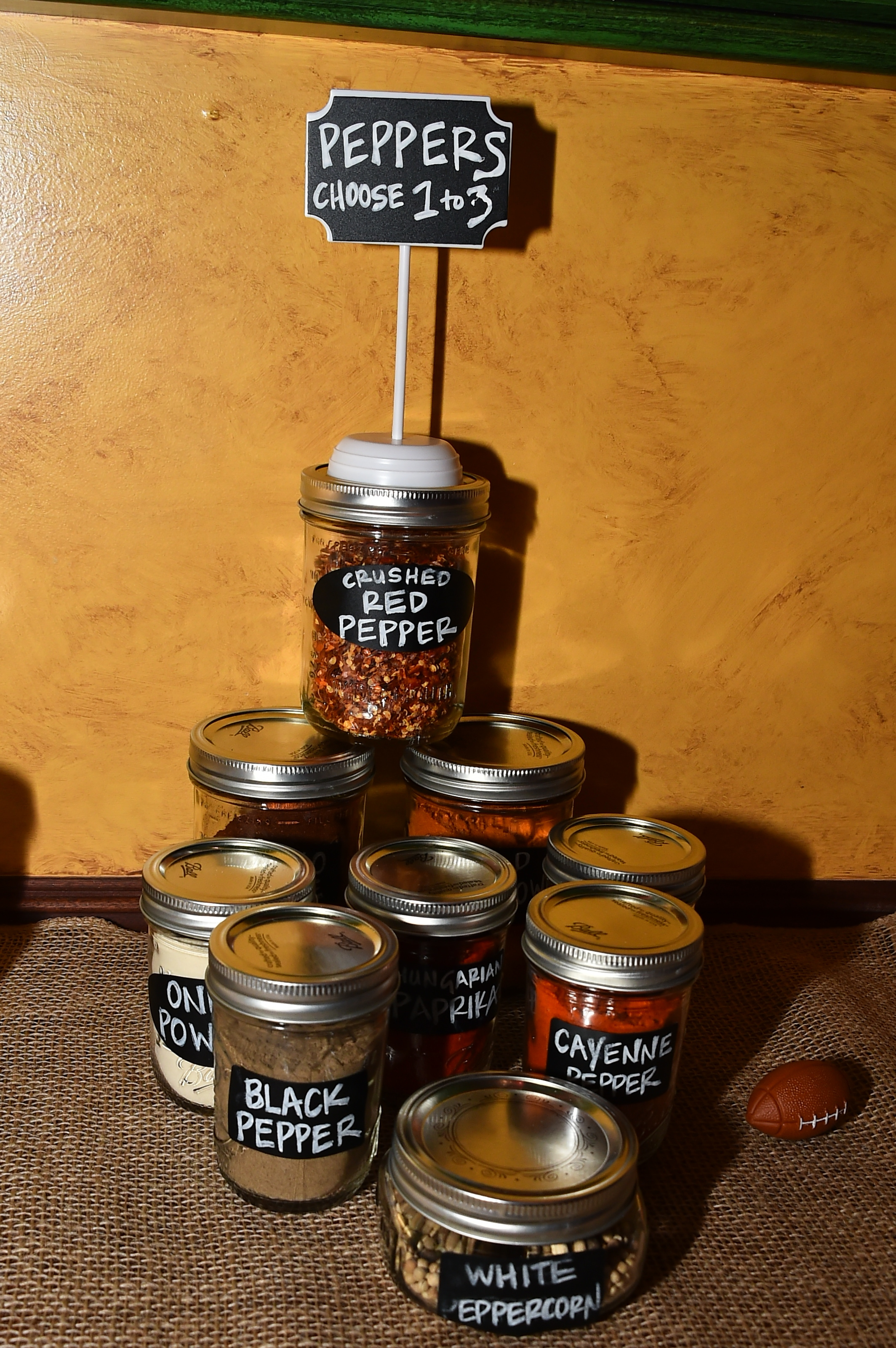 The pepper station of the rub bar. Also included: salt, savory, and sweet.
