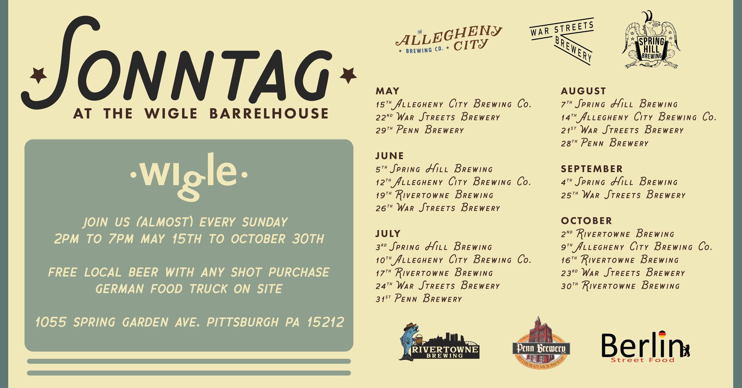 Schedule for Sonntag through October.