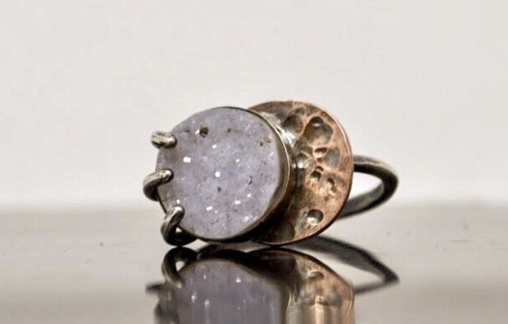 Lunar Eclipse Druzy Ring via Vandalia Metals website