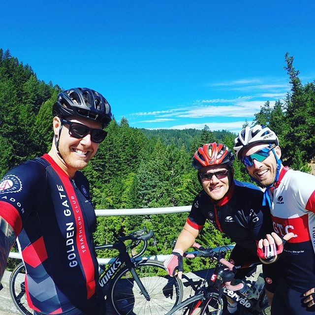 Awesome day for a little Alpine Dam Loop. Joined by Veep @conciselysam and @mdspiegel. Letting the #ggtc colors fly! #purplepatch #GGTC #ShiftSF #triathlon #gopro #lifepoints