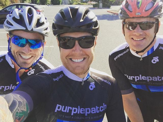Nice little sharpening ride today in prep for Vineman 70.3 with Sam and Mr. S. We all unintentionally wore our @purplepatchfitness kits, so matchy matchy. #ggtc #purplepatchfitness #daddysgirls #lifepoints #triathlon