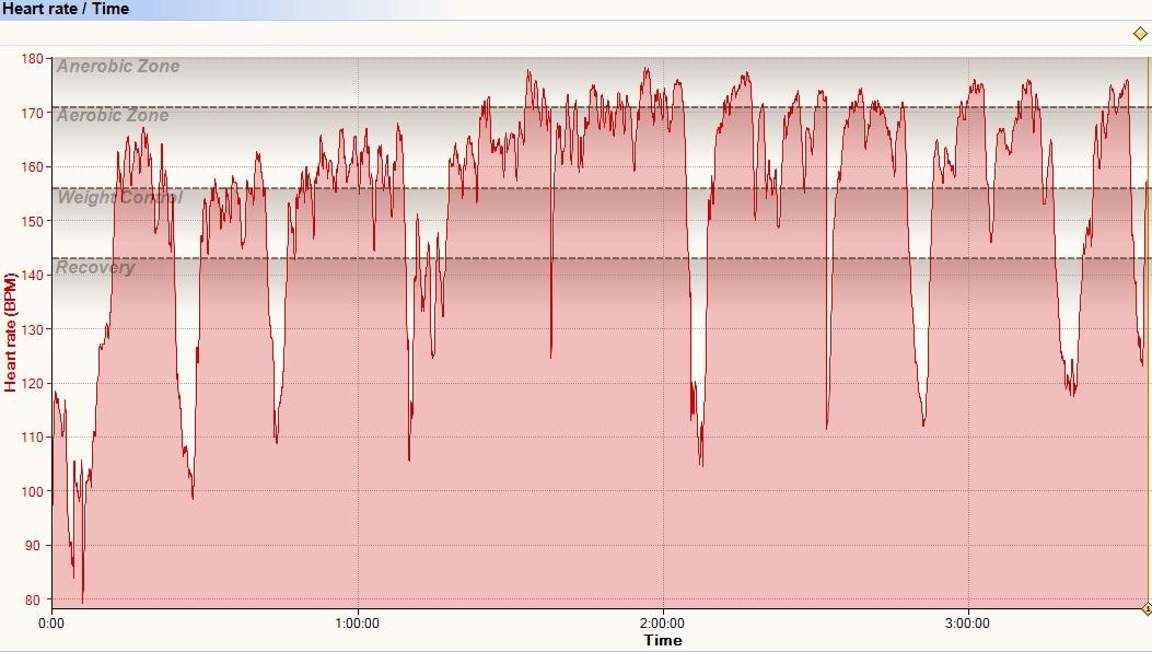 Heart Rate over time, Screenshot from SportTracks, Copyright: Life-Sparring.com