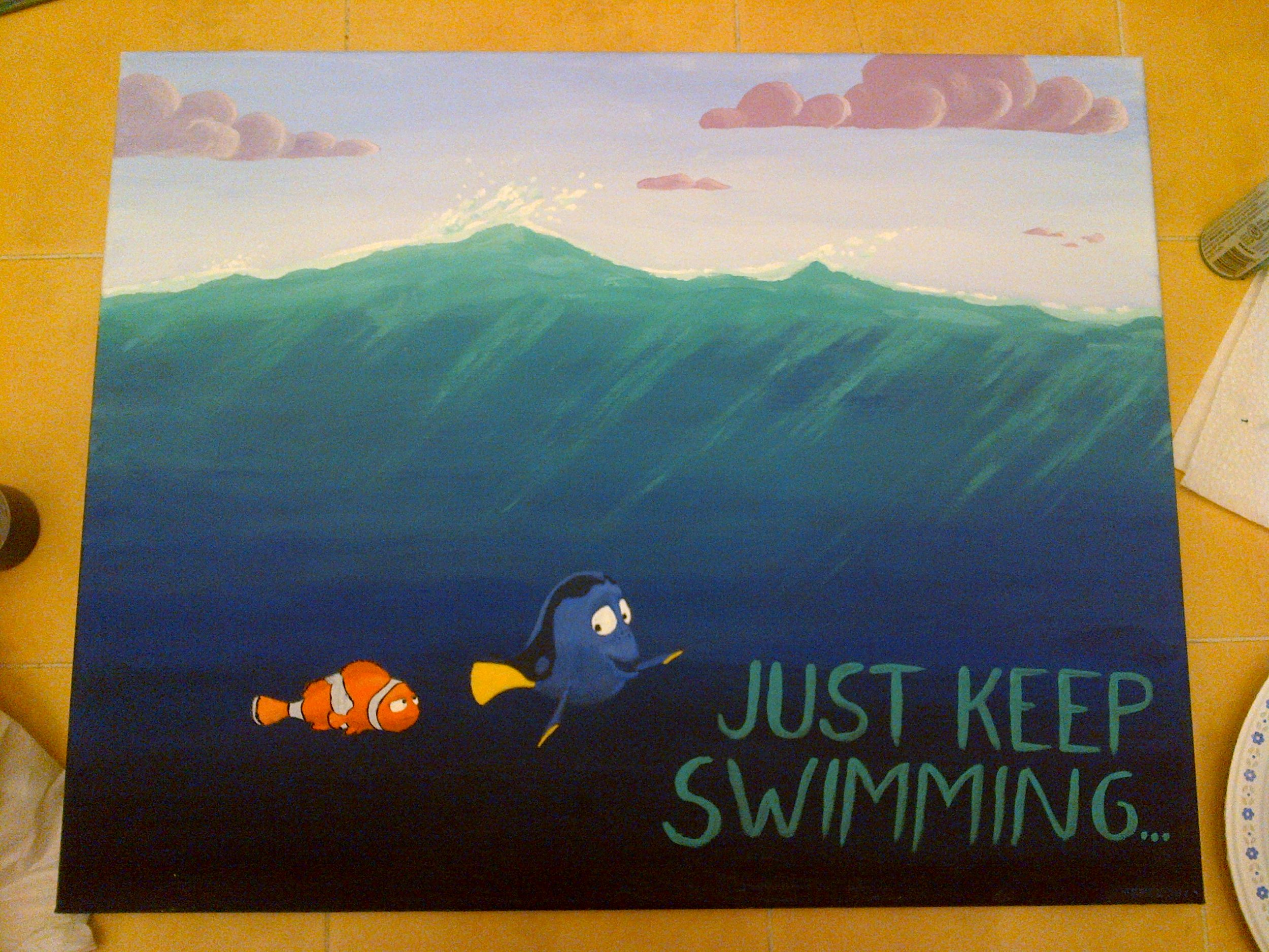 Then, I added shading to the fish and a suitable movie quote to make the painting vaguely inspirational. And that was it! It was started and finished in 5 nights, a total of about 8 hours of work. It turned out decently, though nowhere near perfect. (The fact that I can see the imperfection in the art is probably a good sign that I'll try painting more in the near future.)