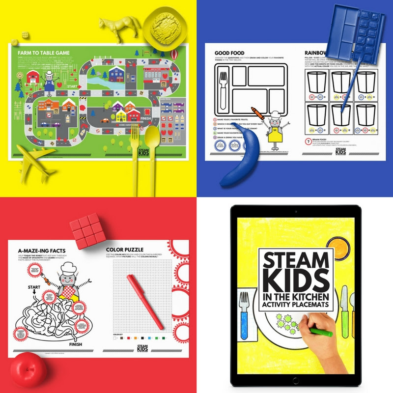 STEAM Kids in the Kitchen Activity Placmats