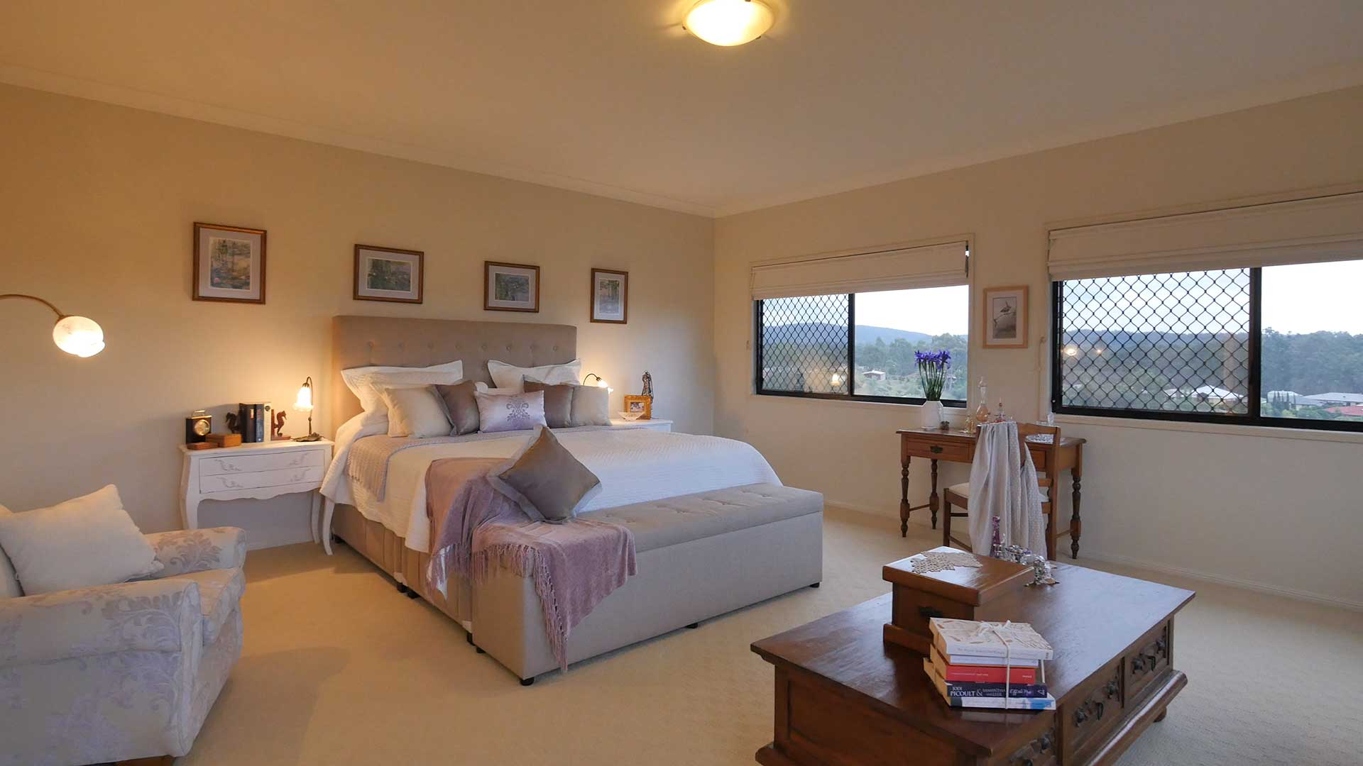 Although the 180 degree view from the bedroom windows were a feature of this bedroom, I think a better perspective was achieved by turning the camera round and simply focusing on the room itself. I was able to use the natural daylight coming into the room from behind the camera to capture a much more balanced shot for both the inside and out.