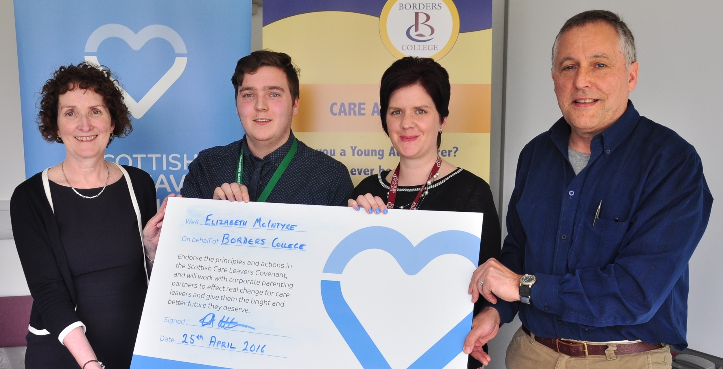 L-R: Liz McIntyre (Borders College Principal), Brian Jamieson (President of Borders College Students Association), Jen MacKenzie (Care Aware Advisor) & Ewan Ross (CELCIS)