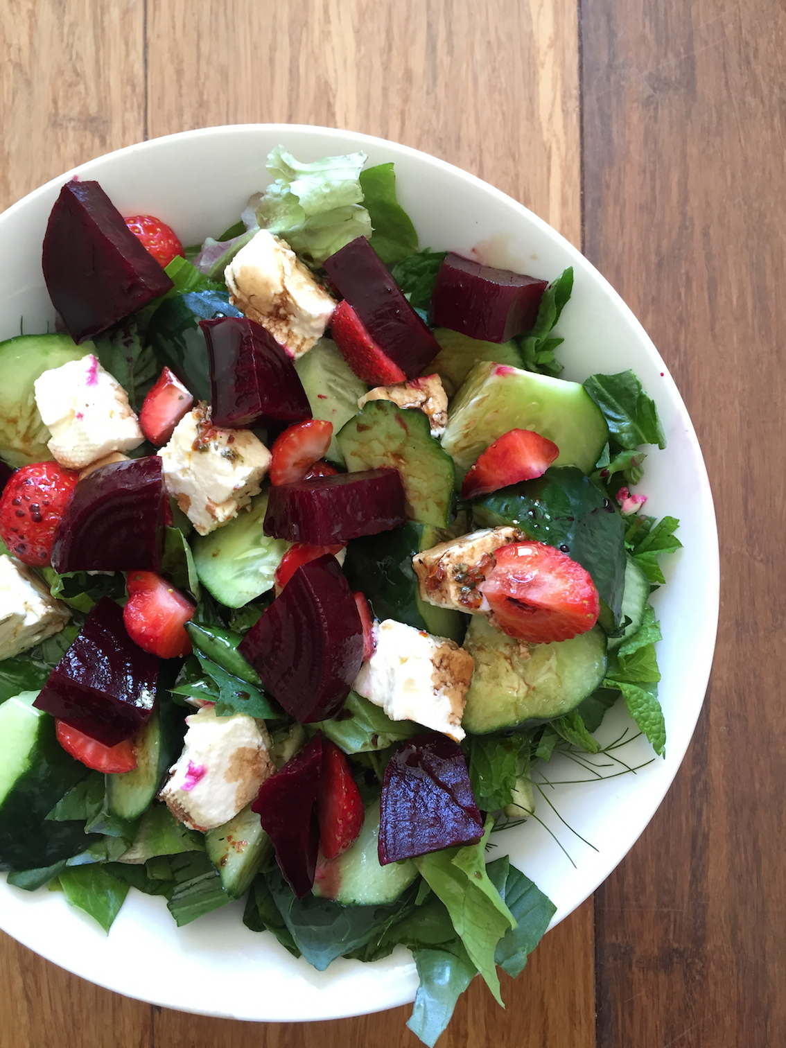 Delicious in a salad with mixed greens and herbs, cucumber, feta and strawberries.