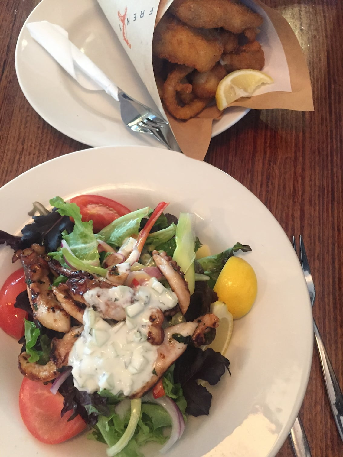 Octopus salad and fish and chips for dinner, at Fish Frenzy in Hobart.