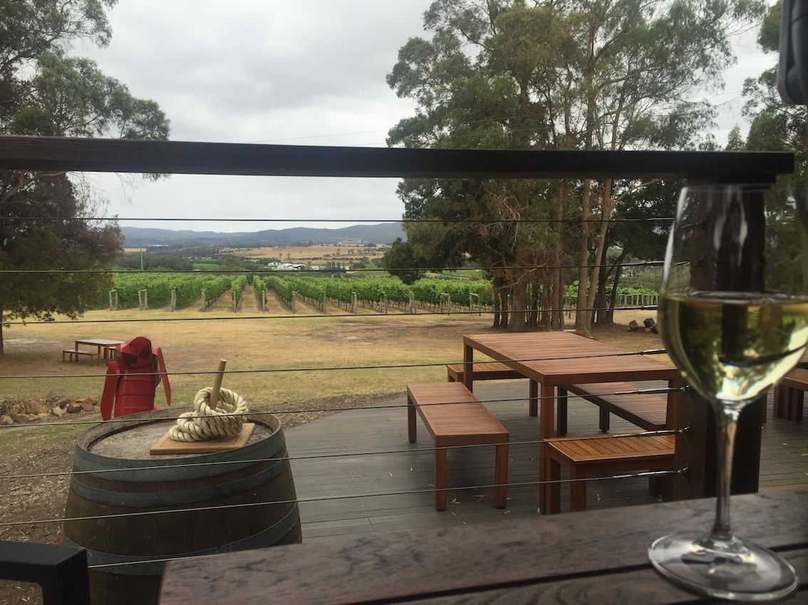 Enjoying a glass of wine at a winery called Goaty Hill Winery, in the beautiful Tamar Valley, up near Launceston.