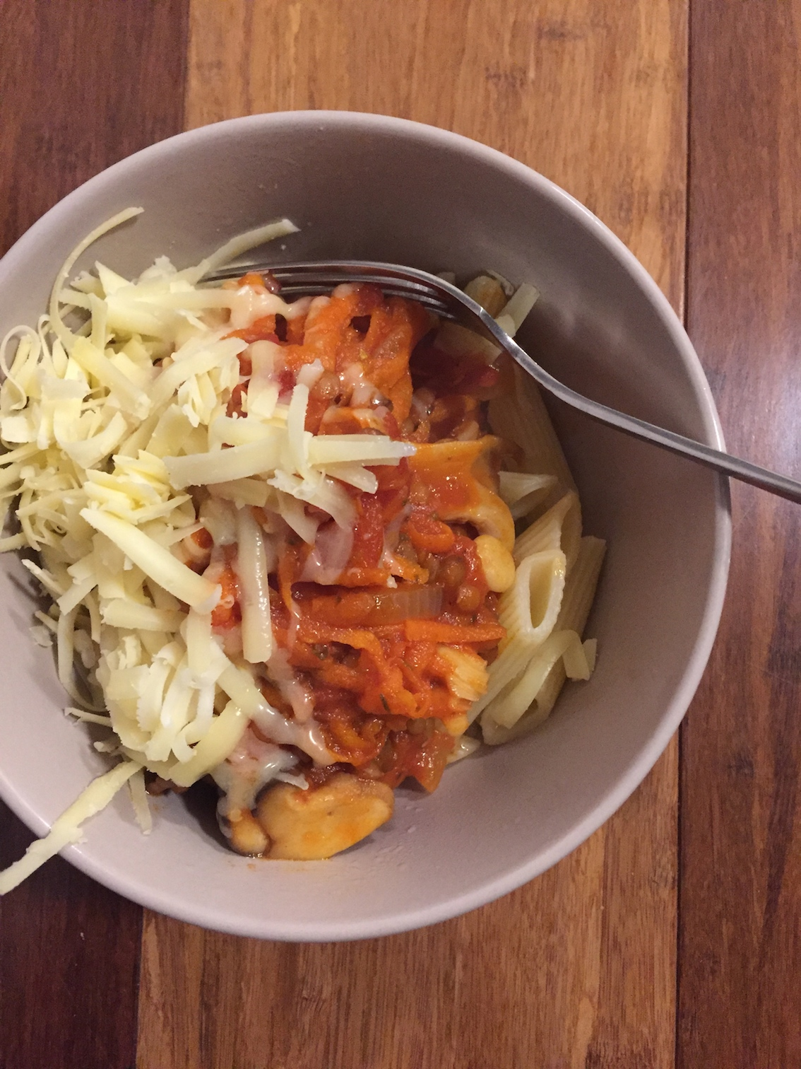 Lentil, mushroom, chilli pasta