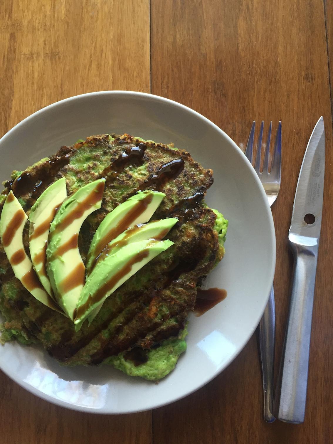 Delicious green pea pancakes