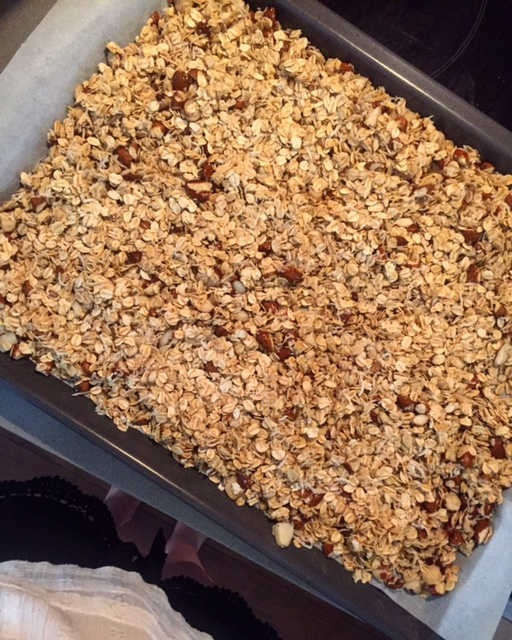Delicious homemade granola in the making