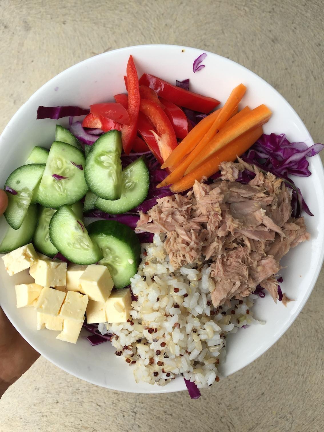 A colourful salad bowl.