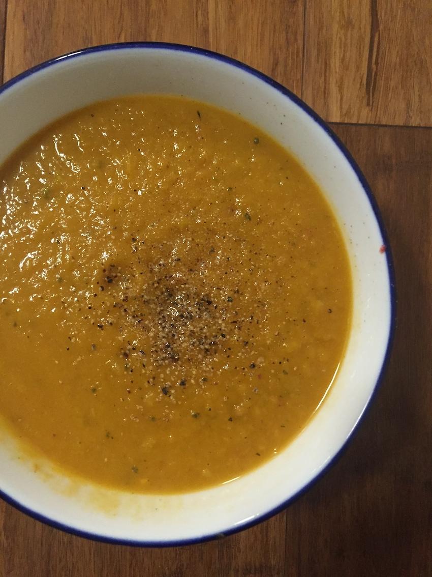 Delicious pumpkin, lentil and tomato soup