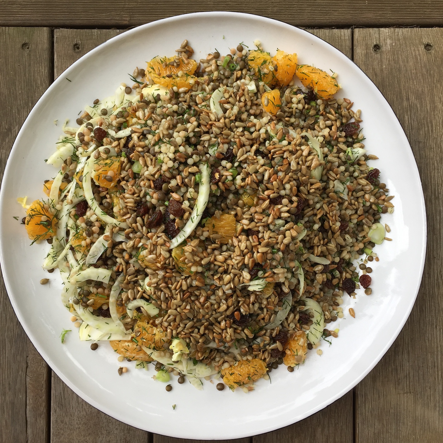 A delicious salad with pearl cous cous, lentils, orange, fennel, dill, sultanas and toasted sunflower seeds is sure to satisfy.