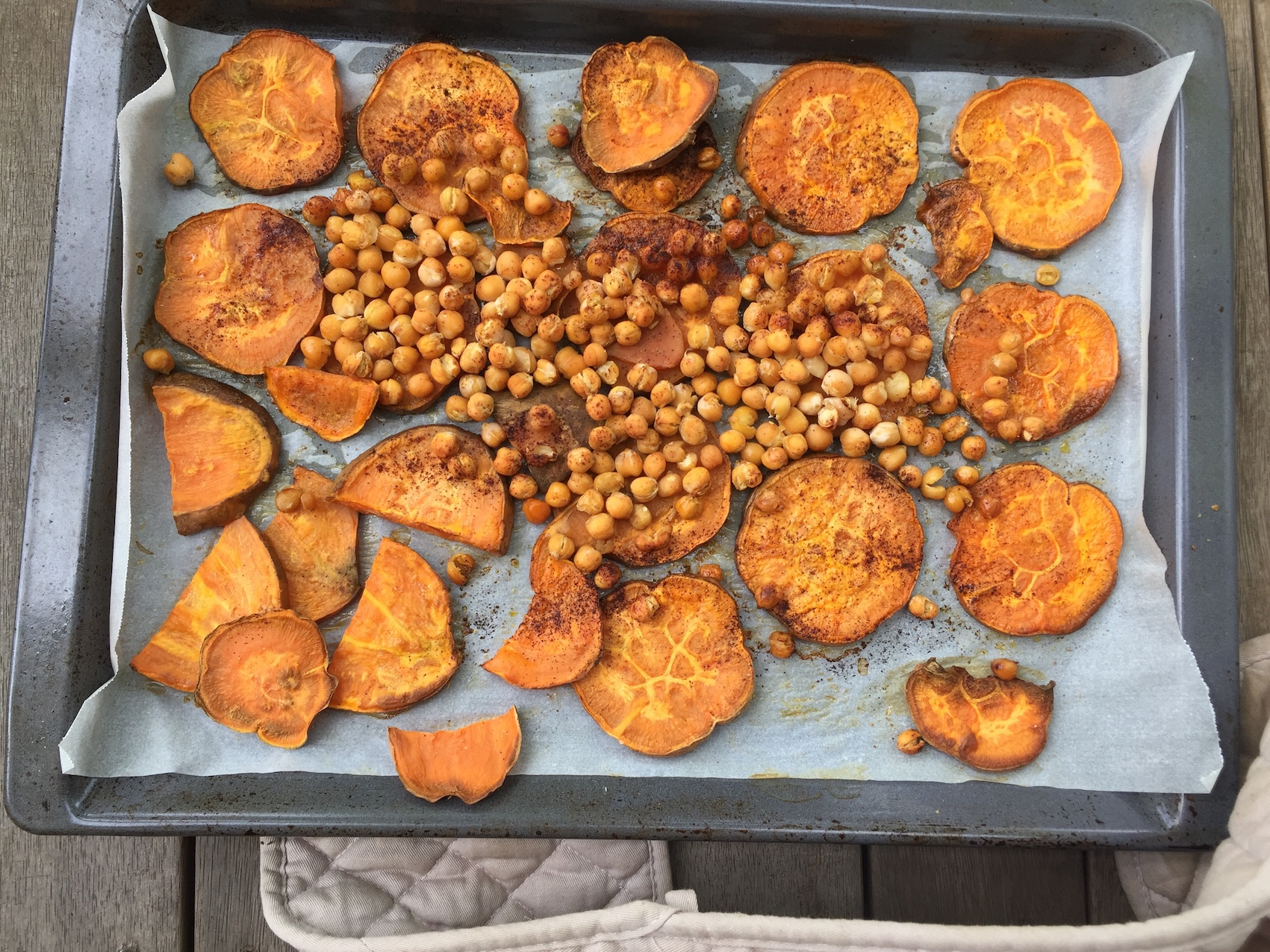 Adding a tin of drained chickpeas when you are roasting your sweet potato makes a crunchy salad topper that's high in fibre and protein.