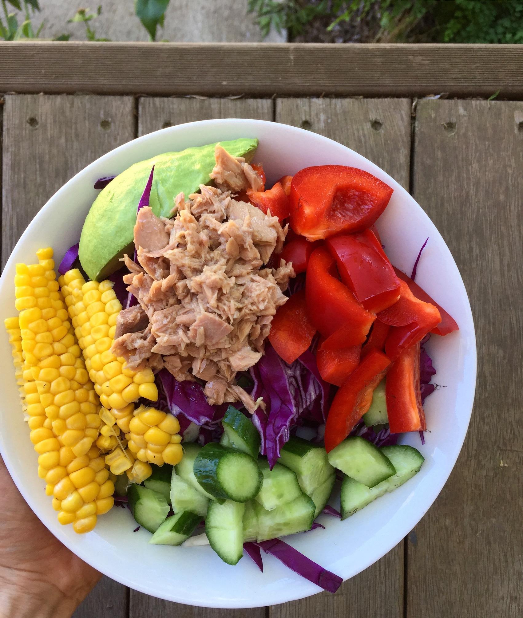 Salad with corn and tuna - easiest salad combo ever!