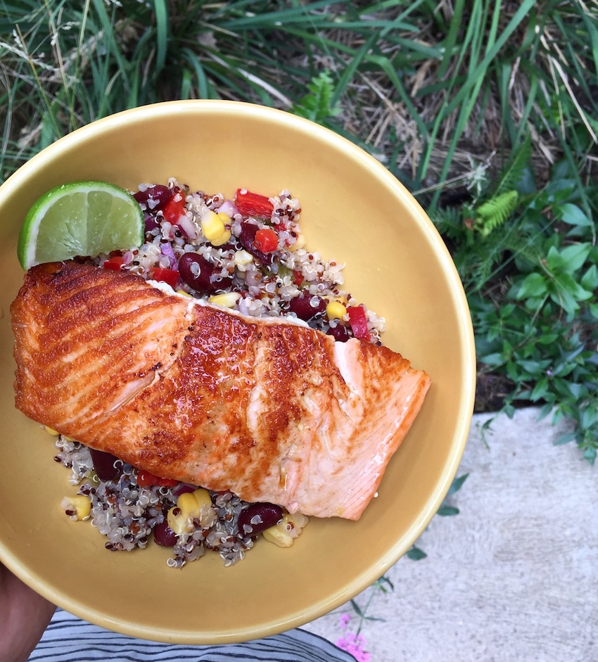Quinoa salad is perfect when served with fresh fish.