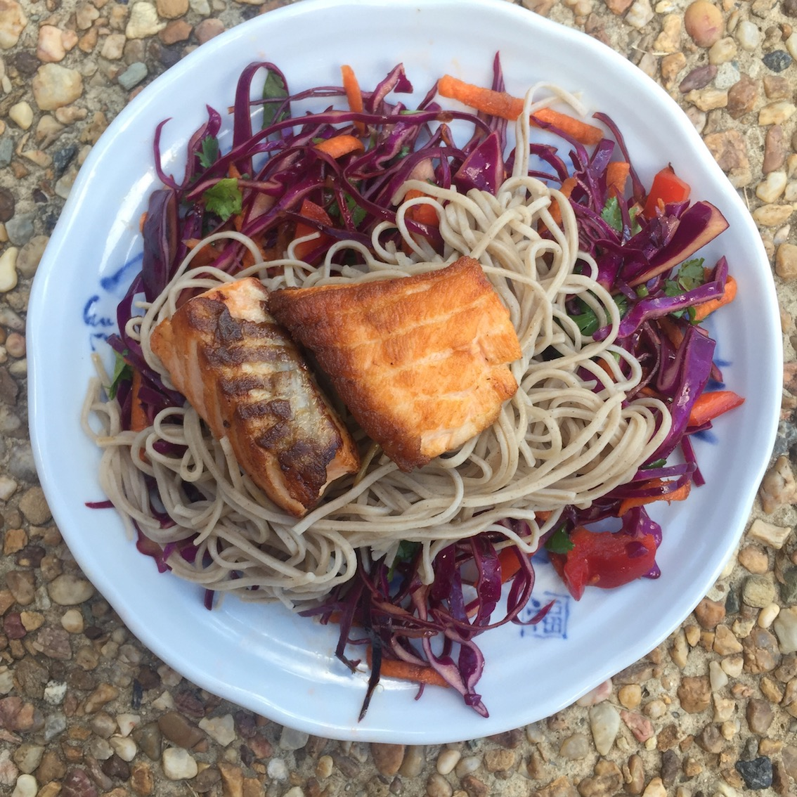 Soba noodle salad with grilled salmon