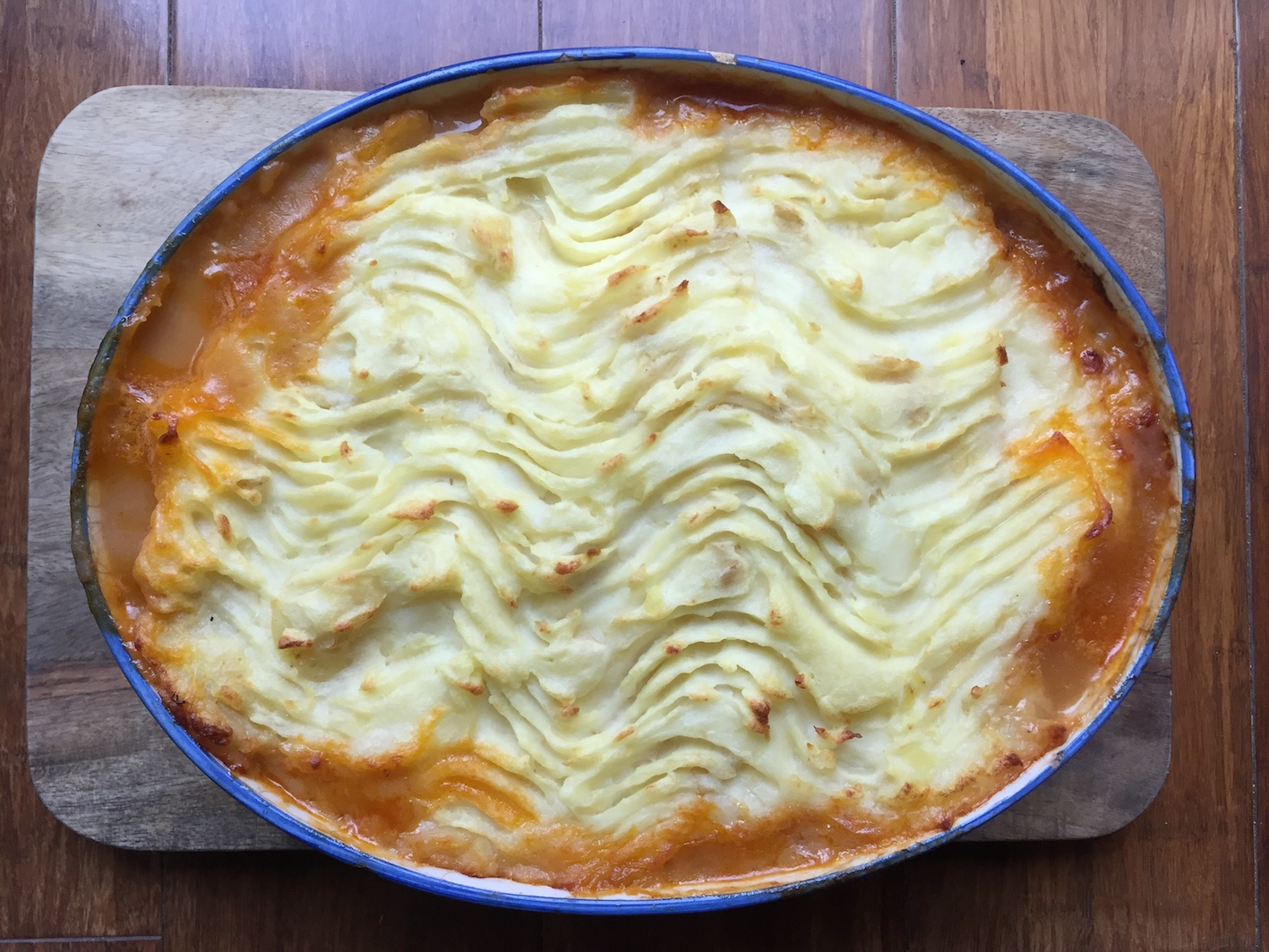 Fresh out of the oven, a delicious slow cooked shepherd's pie.