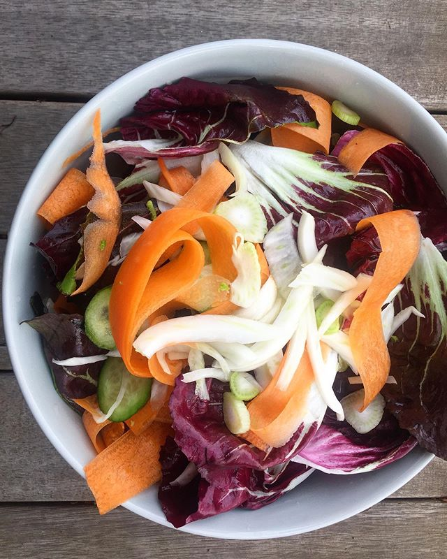 A salad from a few weeks back - radicchio, fennel, carrot and cucumber with a balsamic and maple dressing. Delicious! Who else loves the bitter taste of radicchio?