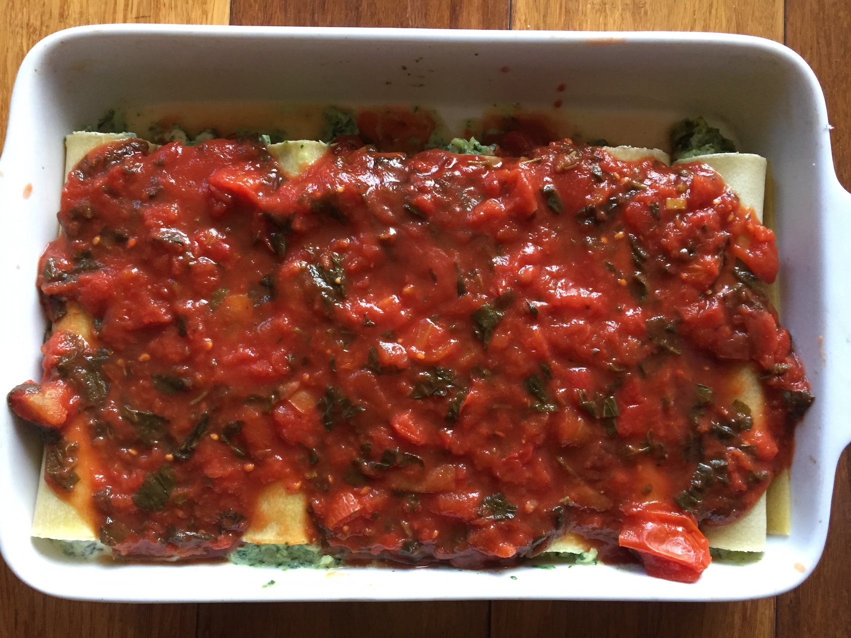 Topped with tasty tomato and basil sauce