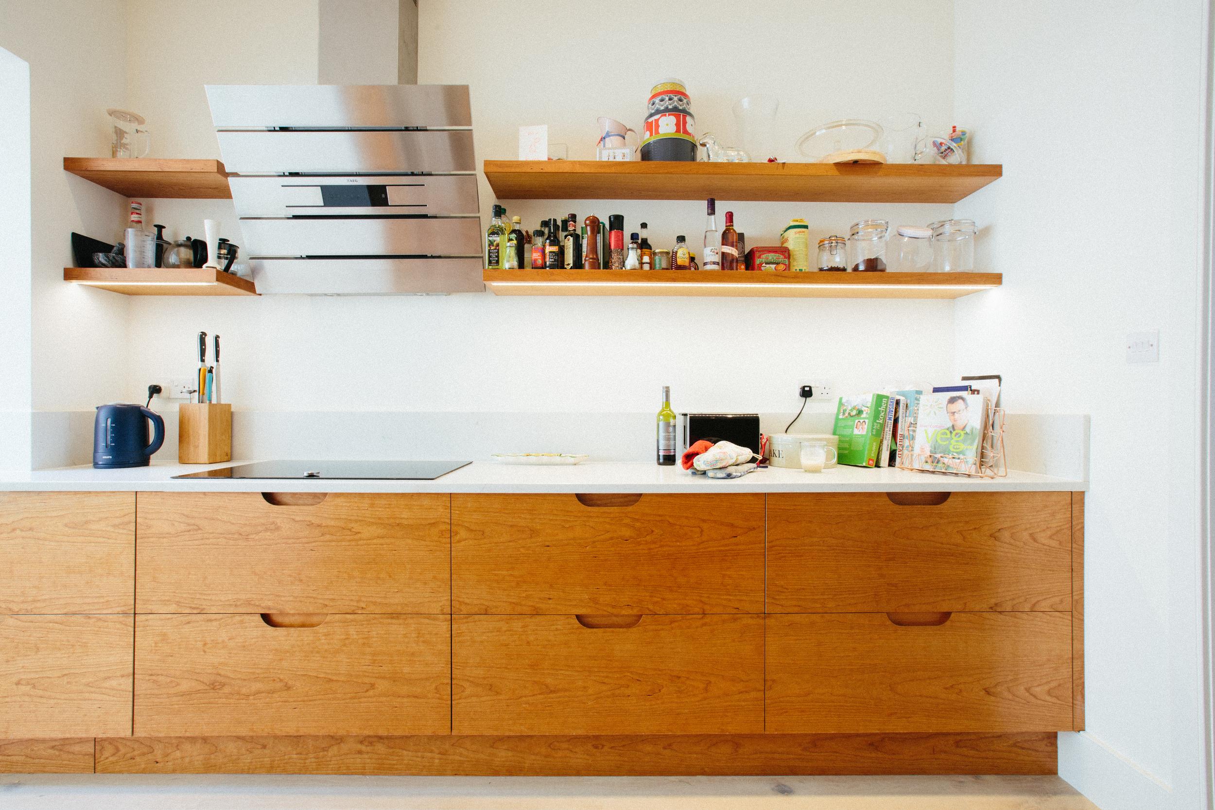 floating shelves, retro design, Scandinavian, 60s, drawers, cherry birch ply