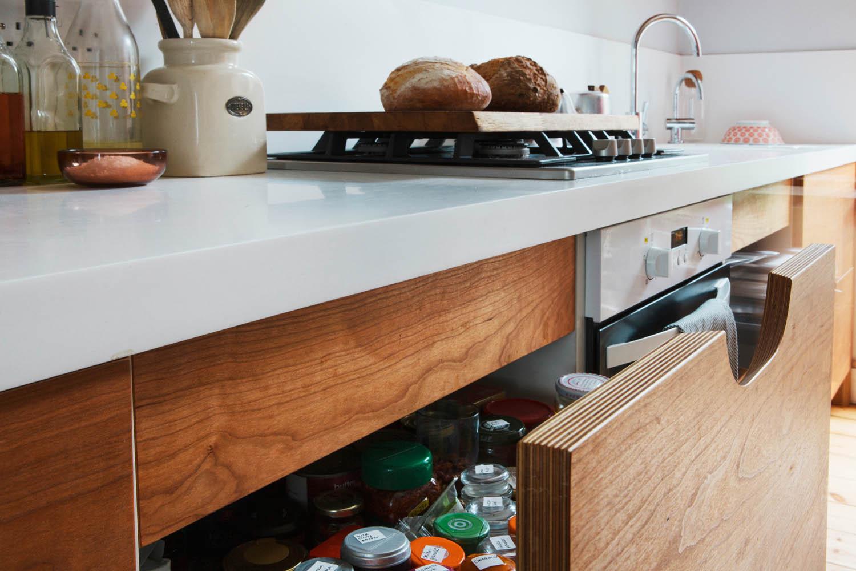 birch ply drawers, veneered plywood, handmade, bespoke design, kitchens