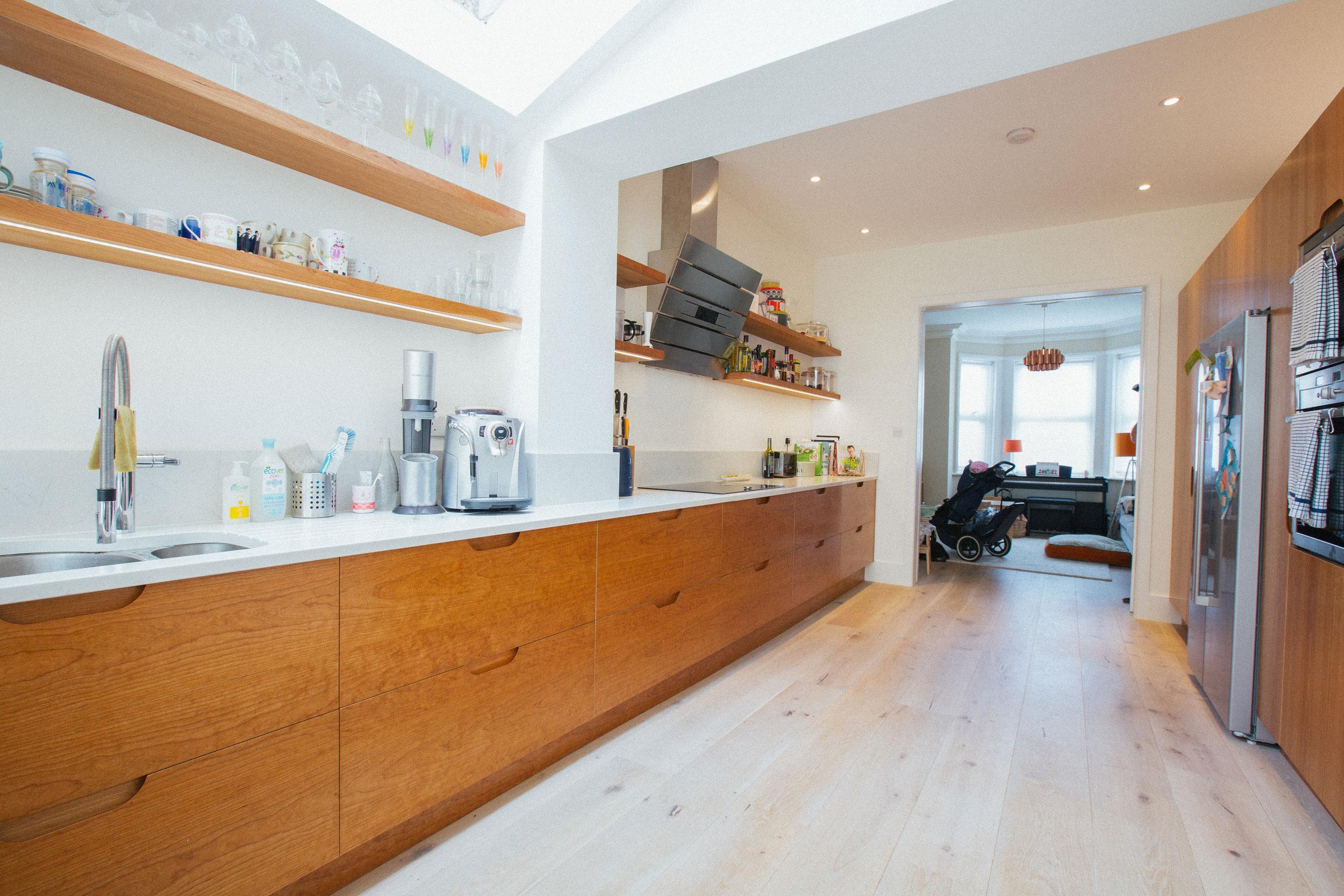 scandinavian design, birch ply kitchen, london design