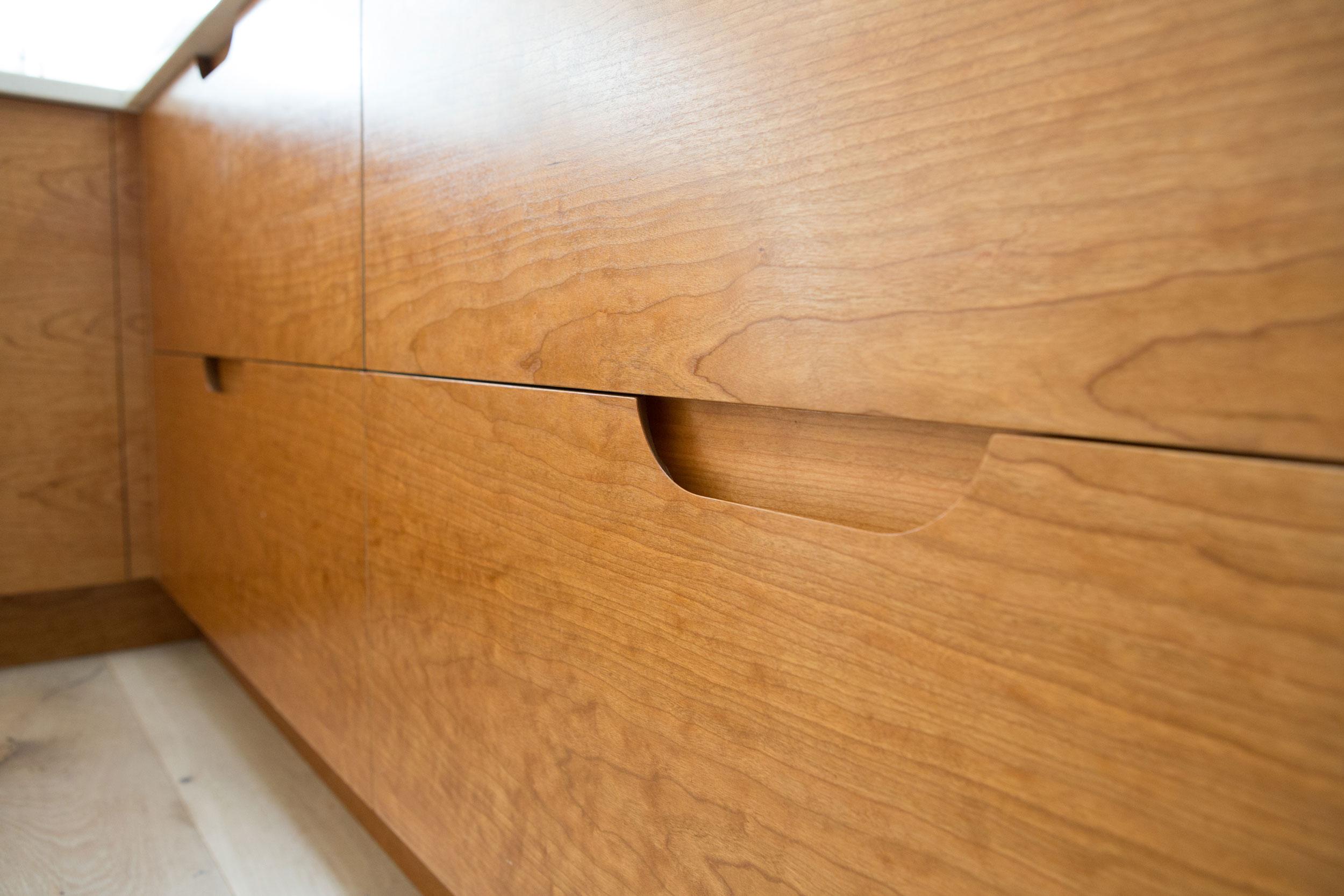 retro, routed handles, drawers, birch, scandi