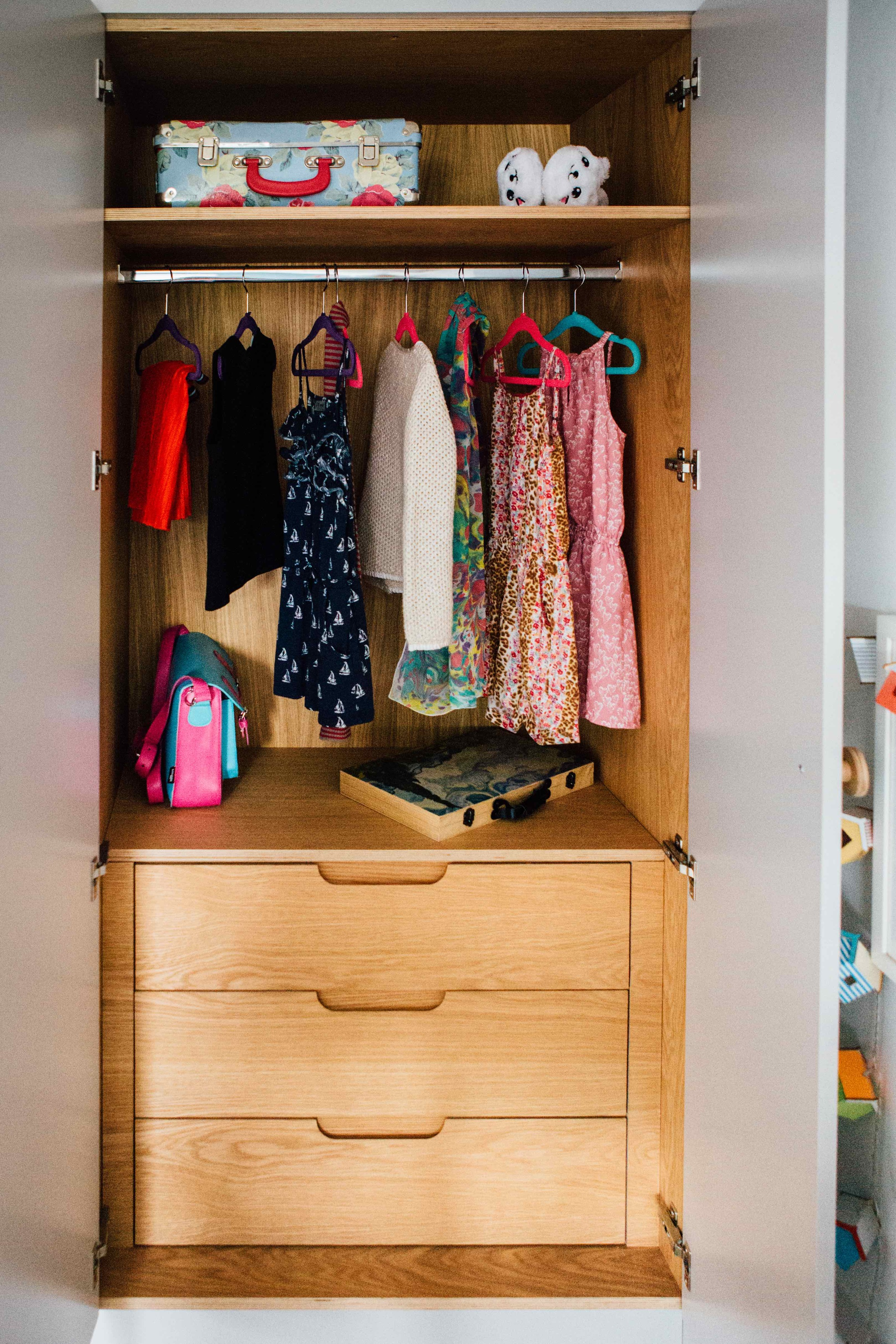 wardrobe interior made from oak veneered birch ply with soft close drawers carpenter herne hill