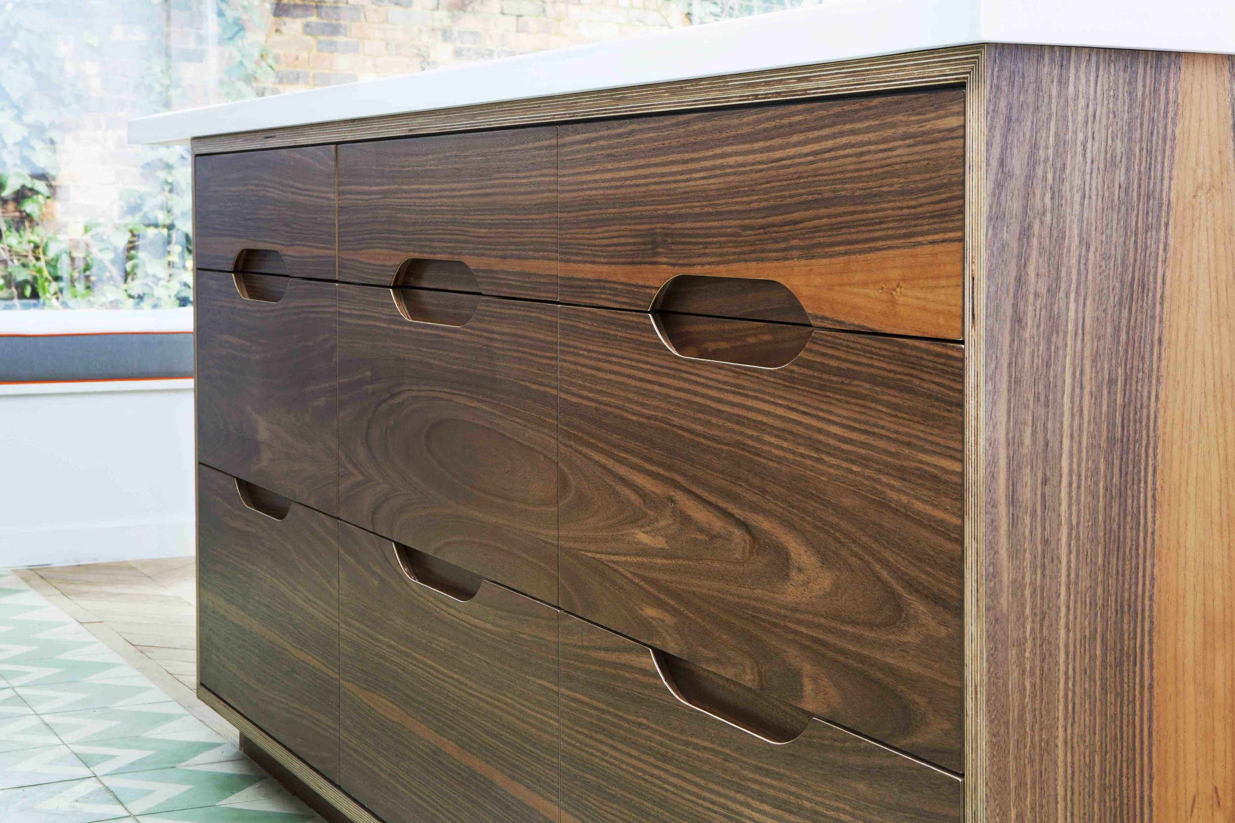 veneered European walnut, birch ply kitchen, drawers, modern kitchen design, London kitchen