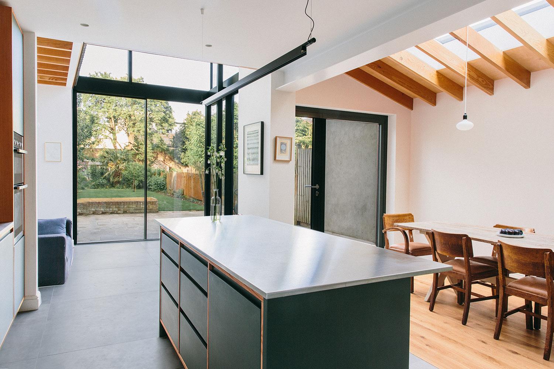 wooden beams, kitchen design, kitchen island, shaker, dark green wood cupboards