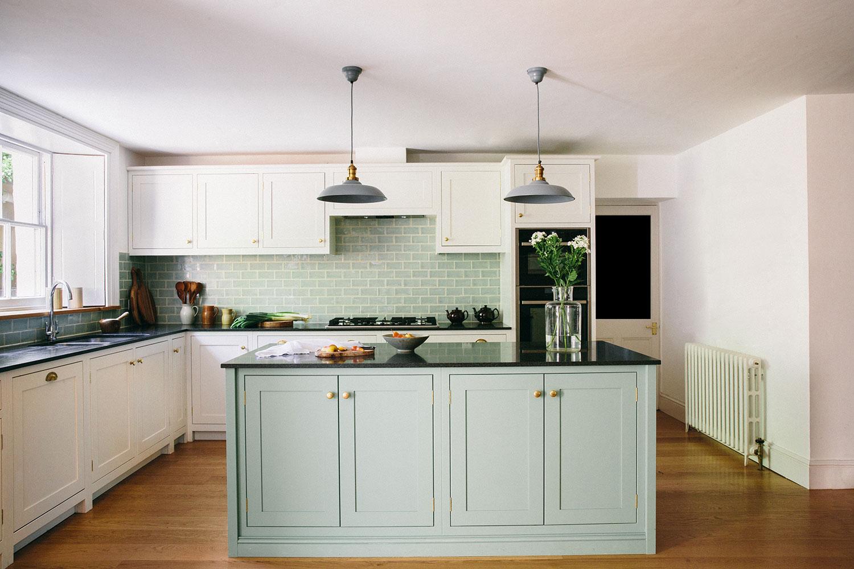 beautiful kitchen design, duck egg, kitchen islands, wooden doors, bespoke