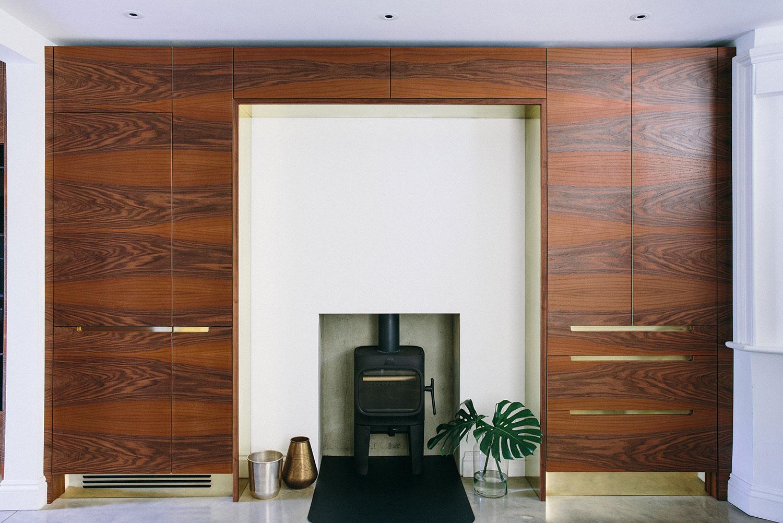 beautiful bespoke, walnut cupboards, brass handles, bespoke design, london